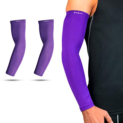 HiRui Cooling Arm Compression Sleeves 20-30mmHg Recovery Relieve Pain Support Muscles UPF50 UV Protection for Men Women, Running Cycling Basketball Tattoo Cover (1Pair) (Purple, M)