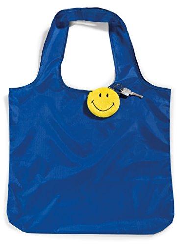 NICI 41533 Smiley zusammenfaltbare Einkaufstasche mit Anhänger, Jeans, 8 cm