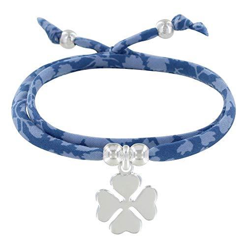 Schmuck Les Poulettes - Doppel Runde Link Armband Liberty und Silber 925 Klee - Classics - Blau