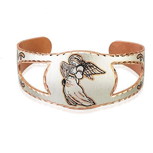 Pulsera de ángel, hecha a mano, ajustable, con forma de escudo de caballero, diseño de ángel de cobre plateado