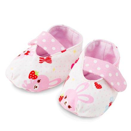 赤ちゃんにやさしい安心ベビーシューズ(日本製)ハッピーうさちゃん仲良しうさちゃん(水玉ホワイト)B1803500