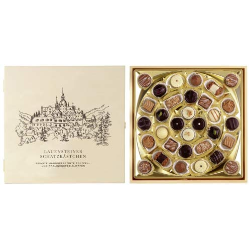 Lauensteiner Schatzkästchen   400g feinste Trüffel und Pralinen ohne Alkohol, 16-fach sortiert   Ideales Geschenk für jeden Anlass