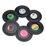 AUXSOUL Coaster Creative Vinyl Record Table Placemats,Colorful Retro Vintage Mug Coaster Home Decor Mats Cup Coasters for Bar/Home/Office or 70s/80s Party Favors(6 pcs)