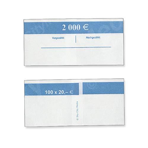 Banderolen für Euro Geldscheine je 50x (20 € Banderole) Geldbanderole Papier für Geldbündel Fassungsvermögen je 100 Scheine
