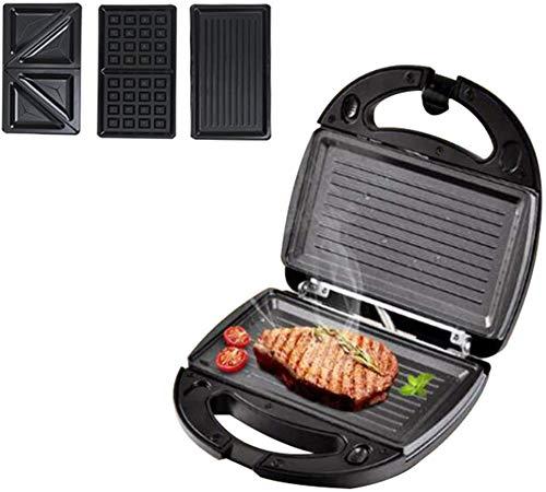 LCZ Gaufre 3 en 1 Grille-Pain de Sandwich, plaques de revêtement antiadhésif 750w Contrôle Automatique de la température Multifonctionnel Steak Machine Panini Machine de Petit-déjeuner