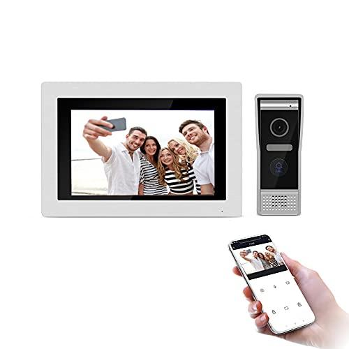 Videocitofono 7 pollici, citofono IP WiFi Sistema di ingresso campanello con monitor 720P agganciabile Visione notturna della videocamera, supporto rilascio remoto, registrazione, istantanea