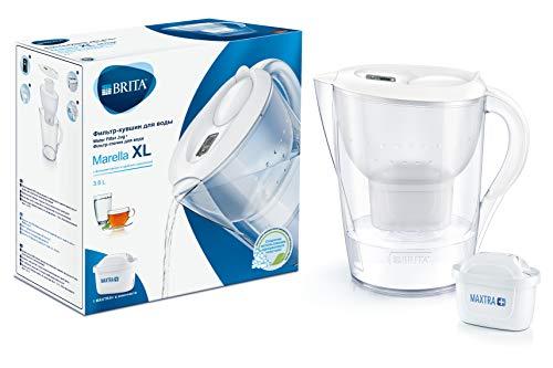 BRITA Wasserfilter Marella XL weiß inkl. 1 MAXTRA+ Filterkartusche – Extra großer BRITA Filter zur Reduzierung von Kalk, Chlor & geschmacksstörenden Stoffen im Wasser