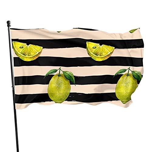 GOSMAO Bandera de jardín Patrón de Rayas de limón Color Vivo y Resistente a la decoloración UV Bandera de Patio Cosida Doble Bandera de Temporada Banderas de Pared 150X90cm