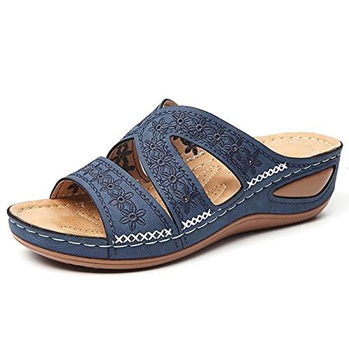 HEHUO Femmes Sandales Pantoufle DéContracté Confort RéGlable Fleur éPissures Croix GlissièRe Anti-DéRapant OrthopéDique Licou Sandales pour Chaussures D'éTé (NAUXIU) 39 Blue