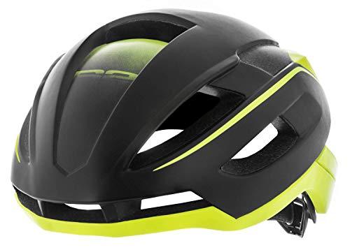 R&R Rennradhelm AERO| Fahrradhelm | Radhelm | Mountain Bike | MTB-Helm | Triathlon-Helm für Damen und Herren (schwarz/neon gelb, M (55-59cm))