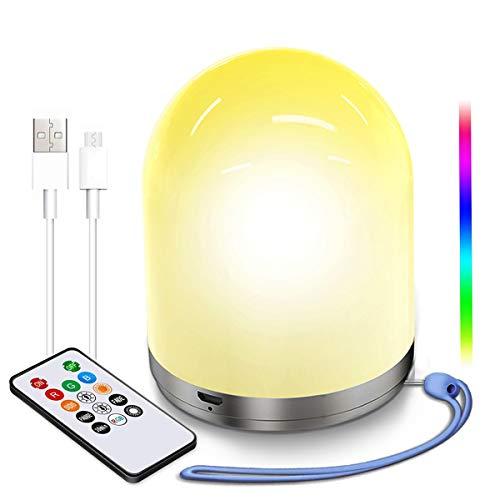 Luz de Noche LED, USB Recargable Lámparas de Mesa, Portátil Regulable Luz Calida, Cambio de color RGB Iluminación infantil Nocturna para Dormitorio de Niños, Cámping (Control remoto Y Temporizador)