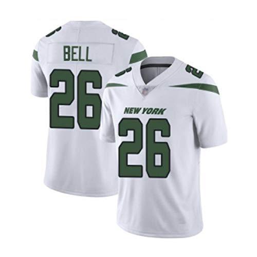 Le'Veon Bell # 26 New York Jets Rugby-Trikot für Herren, Stickerei Kurzarmspiele Trining Sport Unisex-Fans Trikots Atmungsaktives T-Shirt Wiederholbare Reinigung-White -2XL(190cm~195cm)