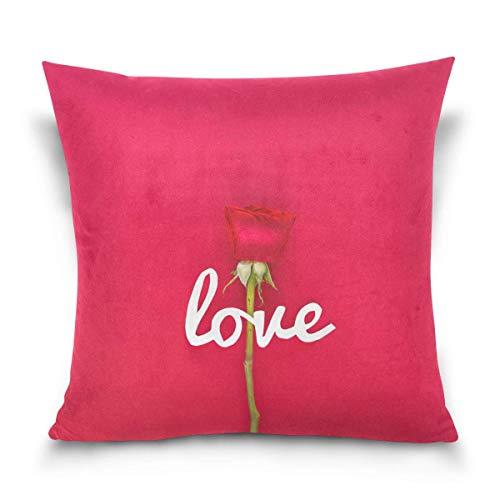 AEMAPE Carta de Amor Flor Rosa Fondo Rojo Funda de Almohada Cama Sofá Coche Funda de Almohada Cuadrada Funda de cojín 18 'x18' para sofá Cama de Coche