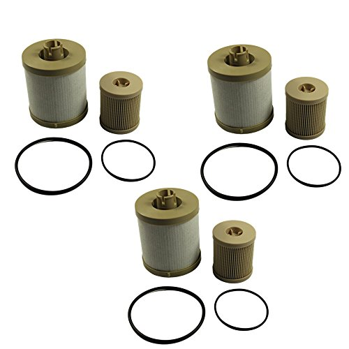CARMOCAR For Ford 6.0L 2003-2007 Diesel Fuel Filter 3 Pack includes lower lifter pump filter and upper fuel bowl filter FD4604 Ford F250 F350 F450 F550 F650 EXCURSION FD-4604 FD-4616 Replacements