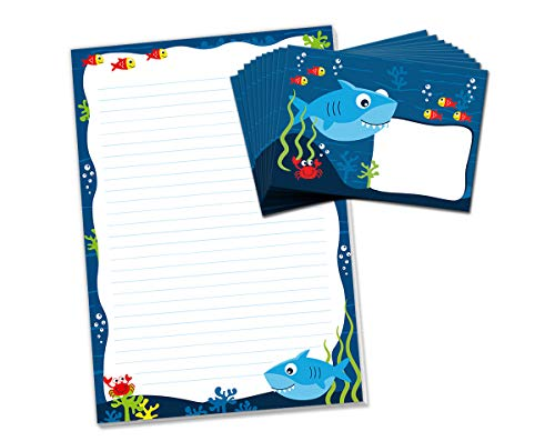 Briefblock mit Umschlag Hai für Kinder Briefpapier-Set (Block A4 mit 25 Blätter + 15 Umschläge)