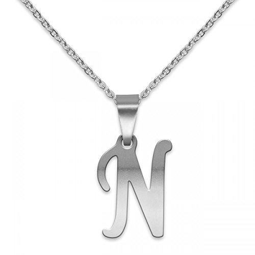 SoulCats® polierter Buchstaben Kettenanhänger aus Edelstahl in Silber; Buchstabe: N