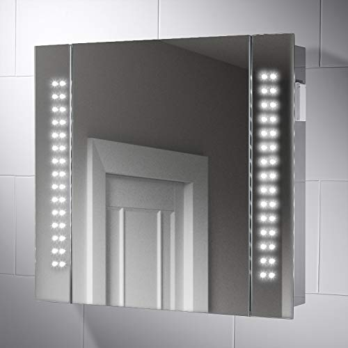 Pebble Grey™ Rowan Illuminated LED Bathroom Mirror Cabinet with Shaver Socket and Concealed Heated Demister Mirror Pad | Motion Sensor Switch | 650 x 600 | IP44 Rated | 10 Year Guarantee