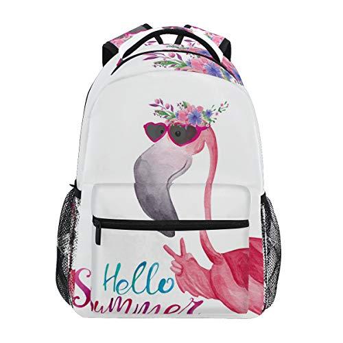 Mochila escolar para niñas con diseño de flamenco, corona de flores para escuela media