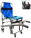 GLJY Silla de Escalera, EMS Emergency 4 Ruedas Ambulancia Bombero Evacuación Silla de Transporte médico con Correas de sujeción para Pacientes, 350 lbs de Capacidad, Azul