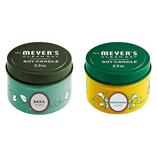 Mrs. Meyer's Clean Day Scented Soy Tin Candle Multipack with Essential Oils, Basil and Honeysuckle Scent, 2 Count