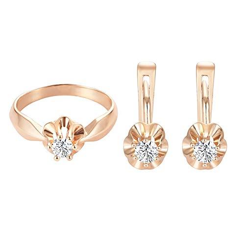 LON Jewelry Sets 585 Gold Color Cubic Zircon Flowers Earrings+Rings Jewelry 3 Style Women Blue White Stone
