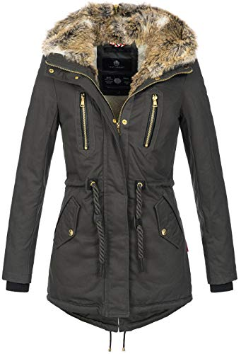 Navahoo warme Damen Winter Jacke lang Teddyfell Winterjacke Parka Mantel B648 [B648-Diamond-Anthrazit-Gr.S]