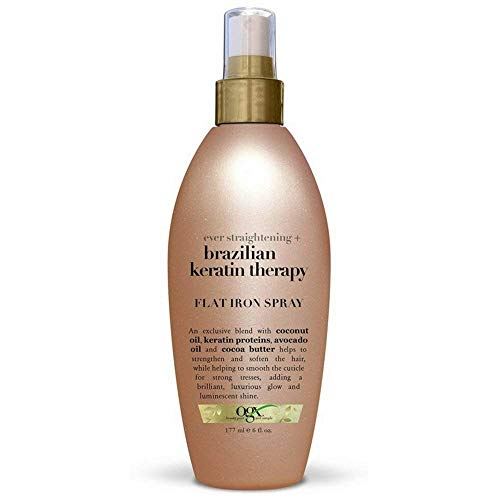 OGX Brazilian Keratin Therapy Ever Straight Flat Iron Spray 6 Ounce (Value Pack of 2)