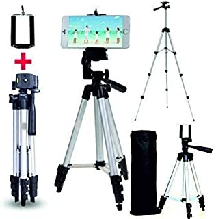 Case Plus Adjustable Aluminium Alloy Tripod Stand Holder for Mobile Phones & Camera, 360 mm -1050 mm, 1/4 inch Screw + Mob...