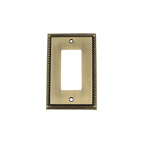 Nostalgic Warehouse 719749 Rope Switch Plate with Single Rocker, Antique Brass