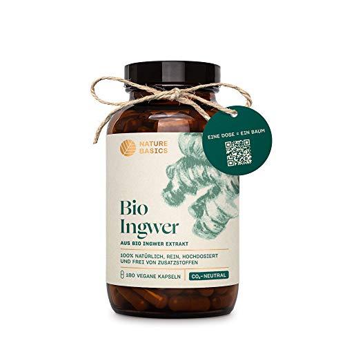 Nature Basics® Bio Ingwer im Glas | frei von Zusatzstoffen & CO-neutral | 180 vegane Kapseln | 600mg pro Tagesdosis | hochdosiert & mit natürlichen Gingerolen | nachhaltig