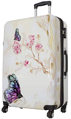 Trendyshop365 Bunter Hartschalen Reise-Koffer Motiv Schmetterling Bedruckt - 77 Zentimeter 94 Liter 4 Rollen Butterfly