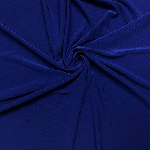 ITY Fabric Polyester Lycra Knit Jersey 2 Way Spandex Stretch 58' Wide by The Yard (1 Yard, Royal Blue)