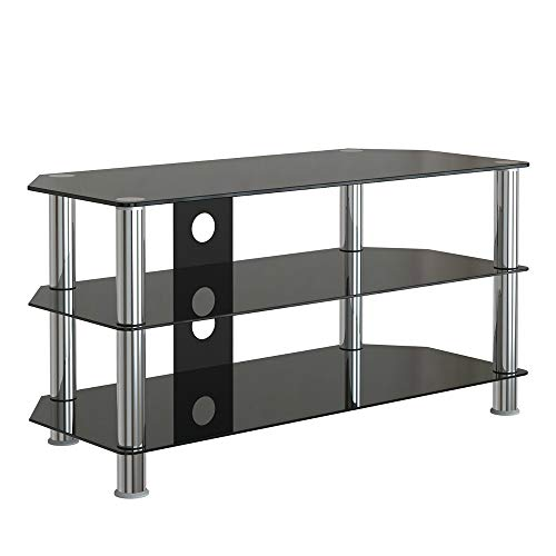Leisure Zone Glass TV Stand Table Unit Corner TV Stand Cabinet with Tempered Glass 3 Shelves for 32 to 45 inch Plasma/LCD/LED/3D Black (100 x 40 x 50 cm)
