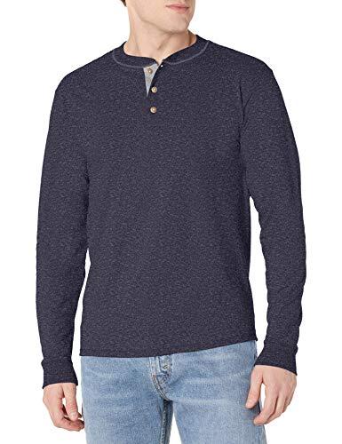 Hanes Men's Beefy Long Sleeve Henley Shirt, Navy Heather, 2X Large