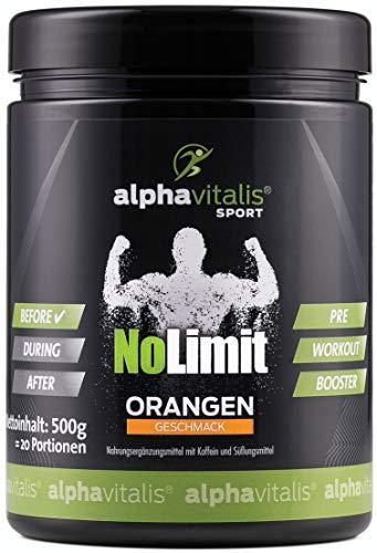 HARDCORE XXL PRE WORKOUT BOOSTER NoLimit - Maximaler Pump und Fokus - AAKG L-Arginin, L-Citrullin, Creatine, beta Alanin, Taurin, Koffein uvm. 500g (Orangen Geschmack)