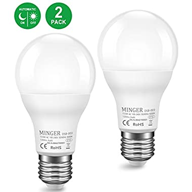LED Dusk to Dawn Lights Bulb 13.5W Sensor Light Bulbs with Photocell, A20 100W Equivelent Automatic Indoor/Outdoor Lighting Lamp for Porch, Hallway, Patio, Garage (E26/E27, 1200lumen, 6000K) 2Pack