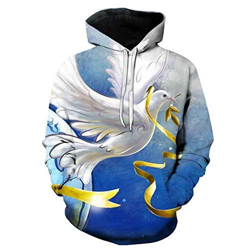 Mr.1991INC&Miss.GO Christmas Casual Loose 3D Printing Hoodie Sweatshirt 9 Code Blue and White
