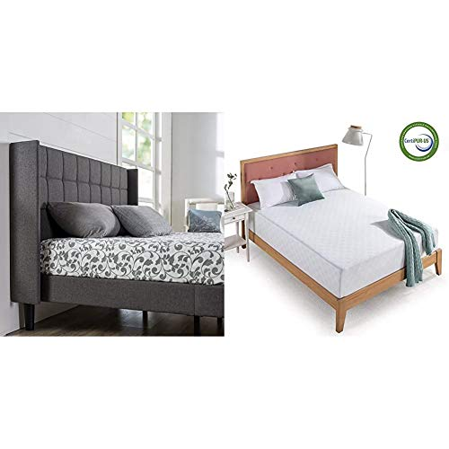 Zinus Dori Upholstered Square Stitched Wingback Platform Bed/Mattress Foundation/Easy Assembly/Strong Wood Slat Support, Queen & 12 Inch Gel-Infused Green Tea Memory Foam Mattress, Queen