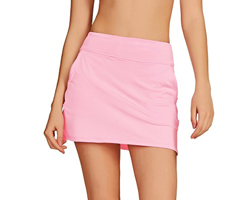 Cityoung Women's Golf Pleated Flat Skort with Pockets M,Pink