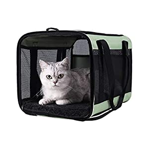 Top Load Pet Carrier for Large, Medium Cats, 2 Cats and Small Dogs with Comfy Bed. Easy to Get Cat in, Escape Proof, Easy Storage, Washable, Safe and Comfortable for Vet Visit and Car Ride