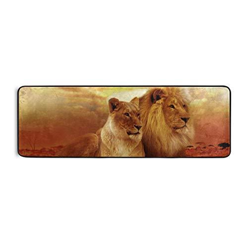 SENNSEE Tier-Löwen-Teppich, Küchenmatte, Fußmatte, rutschfester Teppich für Zuhause, Flur, Eingangsbereich, Schlafzimmer, 182,9 x 61 cm