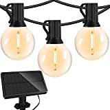 Solar Outdoor String Lights - 27 Ft Waterproof Patio Lights Outdoor - 1W LED Retro Edison Globe Bulbs - Shatterproof, 4 Light Modes, USB Rechargeable Bistro String Lights for Patio, Café, Backyard
