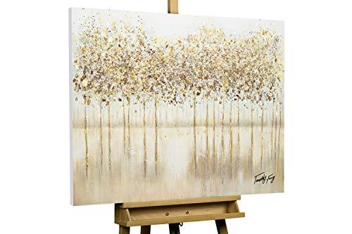 KunstLoft® Acryl Gemälde 'Stilles Wasser' 100x75cm | original handgemalte Leinwand Bilder XXL | Bäume Wald Grau Gold | Wandbild Acrylbild Moderne Kunst einteilig mit Rahmen