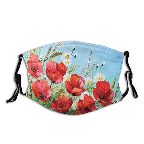 Protector bucal estilo griego casa con flores paisaje marino y paisaje de montaña pasamontañas bucal bandanas cuello polaina con 2 filtros