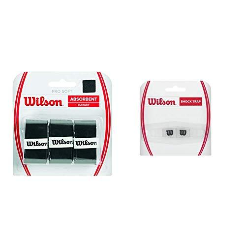 Wilson Unisex Griffband Pro Soft Overgrip, schwarz, 3 Stück, WRZ4040BK & Logo-Vibrationsdämpfer für Tennisschläger, Shock Trap, Transparent/schwarz, WRZ537000