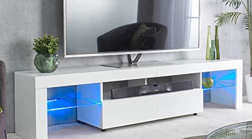 MMT Furniture Designs Ltd Meuble TV moderne blanc de 200 cm de large pour TV de 65 à 80 pouces avec lumières LED bleues pour écrans plats LED LCD de 55, 65, 75, 80 pouces