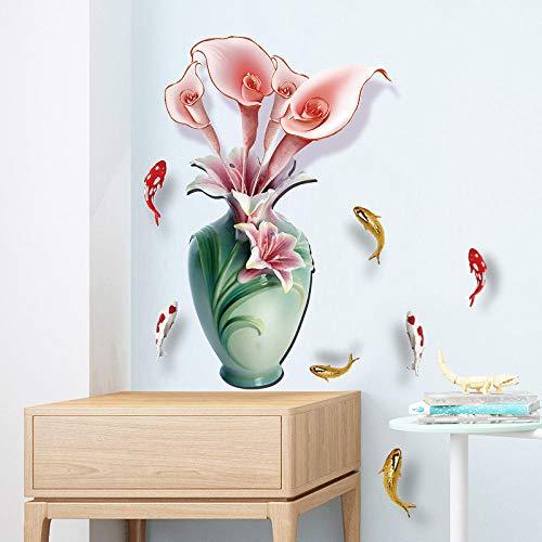 Nelke Vase Schule Fisch Wettbewerb Wohnzimmer Eingang Studie chinesische klassische Malerei Stil wasserdichte Tapete 45 * 60cm