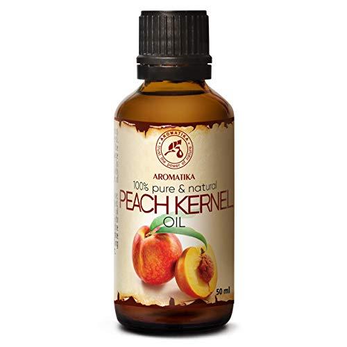 Aceite de Semilla de Durazno 50ml - Prunus Persica - Italia - 100% Puro y Natural - Botella de Vidrio - Aceite de Durazno para Rostro - Cuerpo - Cabello - Piel - para Masajes