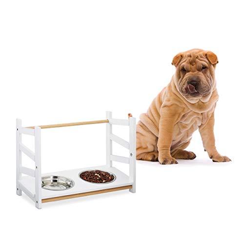 Relaxdays Ciotola per Cani, 2 Scodelle da 1000 ml in Acciaio Inox, Altezza Regolabile, 39 cm, Rialzo, Bambù, MDF, Bianco