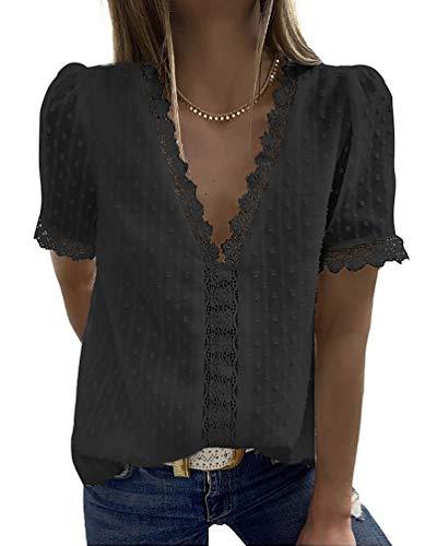 HZQIFEI Camiseta de Manga Corta Mujer Verano Blusa de Encaje con Cuello en V Camisas T-Shirt Sólido Shirt Top (Negro, 3XL)